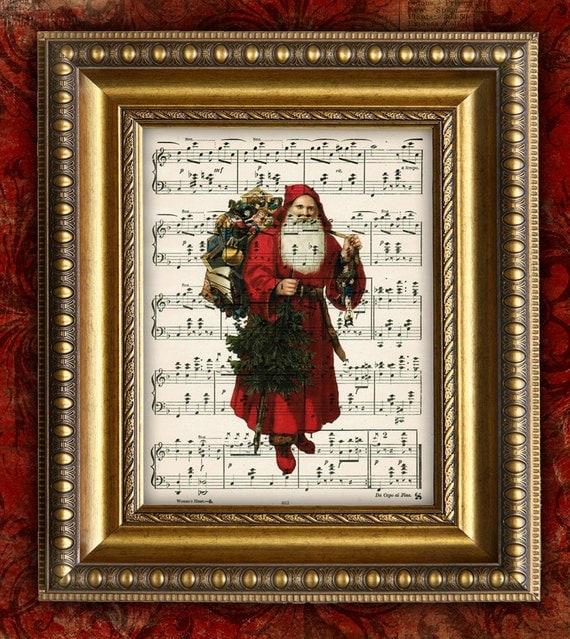Vintage Christmas Wall Decor : Items similar to victorian santa claus christmas decor