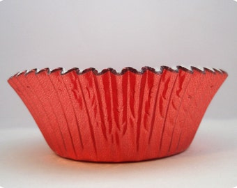 45 Red Foil Cupcake Liners Retro Red Baking Cups