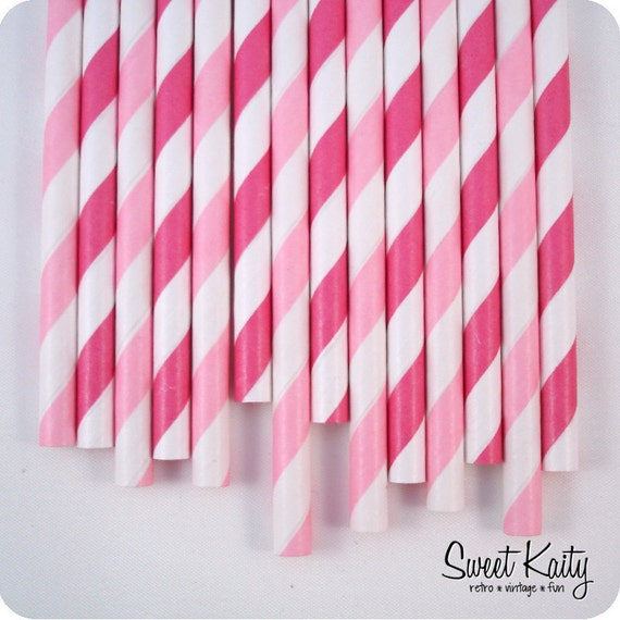 50 Pink Paper Party Straws - Candy Shoppe Mix - with Printable Flags