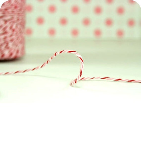 20 Yards Pink and Red Bakers Twine - Peppermint Divine Twine - Holiday Packaging
