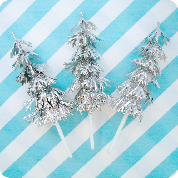 24 Silver Tree Cupcake Picks Cake Toppers