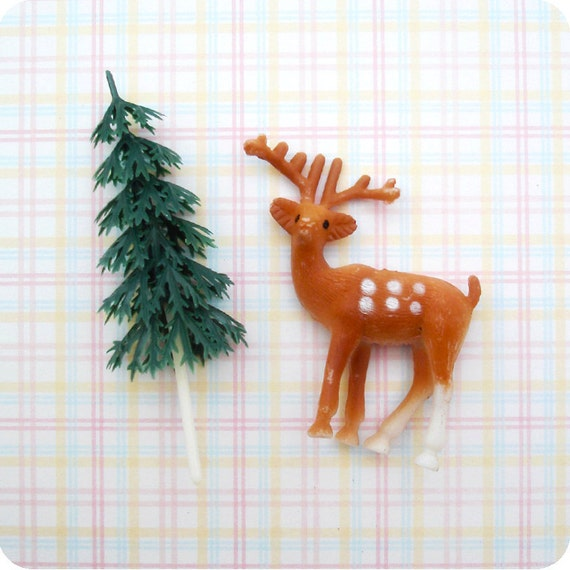 24 Woodland Cupcake Toppers - 12 Deer and 12 Green Tree Cake Decorations