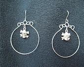 Silver Skull and Crossbones dangle hoops