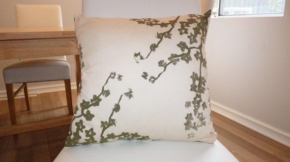 Oriental style screen-printed cherry blossom cushion cover