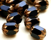Black Cathedral beads - Czech Glass, beads with Golden Ends - 8x6mm - 15Pc - 0145