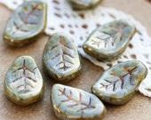 Picasso czech glass beads - leaves pressed Large Chunky LEAF beads - grey olive golden luster - 9x14mm - 12PC