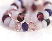 Czech beads mix Purple violet glass - spacers donut beads shabby chic - 3x5mm - 50 Pc - 0020