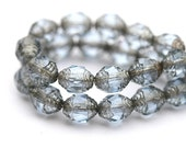 Grey cathedral beads, Czech glass beads with silver ends - 8x6mm - 20Pc - 0786
