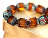 Fire Polished Topaz beads, Picasso beads, czech glass  - round cut 8mm - 12Pc - 0011