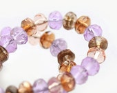 Czech glass beads Violet blue and beige, peach brown mix - spacers - 5x3mm - 50 Pc - 0188