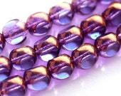 8mm Blue Purple round czech glass beads, violet blue with luster round cut beads - 15pc - 1189