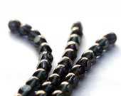 Czech Glass beads dark gray transparent with luster - shadow grey - 8mm - 12PC