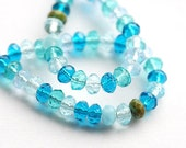 Aqua blue czech glass beads mix - pale blue, green teal spacers - 5x3mm - 50Pc - 0017