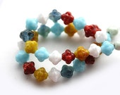 Bright mix czech glass beads, bicones, red, white, blue, yellow - 6mm - 30Pc - 0118