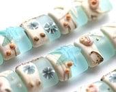 Blue Lampwork beads, Beachy, Sea glass - SRA, by MayaHoney