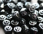 Jet Black Cathedral czech glass beads silver ends - 6mm - 20Pc - 0253