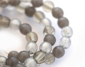 Grey czech glass beads mix - round spacers, druk, small - 4mm - approx.100Pc - 0306