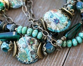 RESERVED - please DON'T buy Teal organic BOHO necklace and earrings set with artisan lampwork glass beads on brass, rustic, by MayaHoney