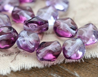 Purple Lilac Oval czech glass beads, wavy Fantasy Swirl beads, Amethyst Purple jewel tone - 9x8mm - 20Pc - 2388