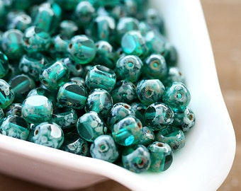 Czech Glass beads, Teal beads, spacers, picasso beads, round cut, fire polished - 6mm - 30Pc - 0625