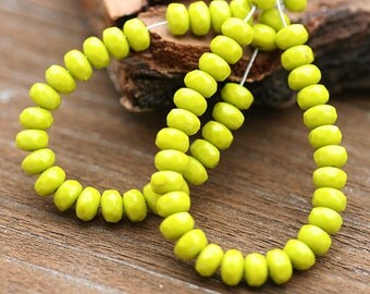 Olive green Czech Glass beads - wasabi green small Spacers - 2x3mm - 50 Pc - 0019