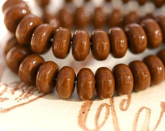 Brown czech glass beads - tiny spacers, rondel - 4mm - approx. 70pc - 0144