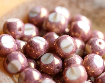 10mm czech Glass beads - Beige, Rose Pink, Peach, luster, round cut, large beads, triangle, fire polished - 10Pc - 0242