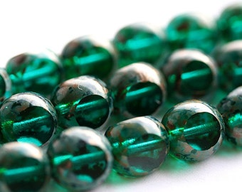 Green Teal picasso beads, Czech Glass, large fire polished round cut beads - 10mm - 10pc - 0232