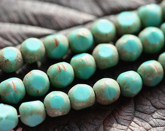 Czech glass beads Turquoise green with rustic brown finish - round cut spacers - 6mm - 30Pc - 0008