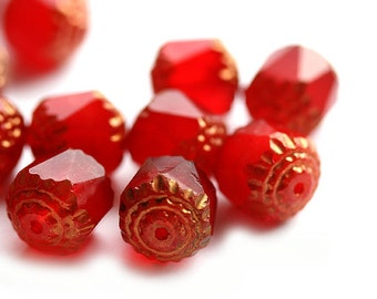 10mm Red cathedral beads, czech glass, golden ends - large red beads, 10Pc - 1016