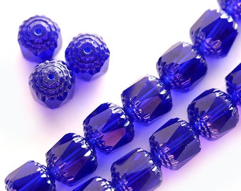 Cobalt Blue cathedral beads, czech glass, light silver ends, round, fire polished - 8mm - 15Pc - 0573