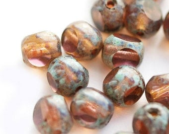 Amber rose RARE color Picasso Czech Glass beads - light topaz with pink hue, brown, round cut 6mm - 30PC - 2837