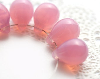 10x14mm Opal Pink teardrops, Milky Pink czech glass drop beads, large Briolettes - 6Pc - 2382
