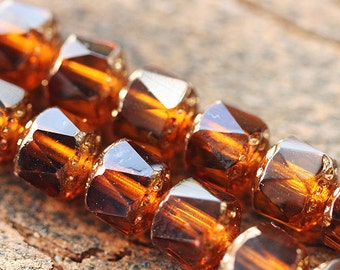 8mm Amber topaz Cathedral czech glass beads with golden ends, round, fire polished - 15Pc - 0249