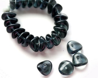 Dark Grey Montana Blue spacer beads, Czech glass rondelles, wavy rondels - 4x9mm - 25Pc - 0264