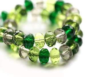 Spring green Czech glass beads mix, jewelry making, spacers rondel beads - 4x7mm - 25Pc - 290