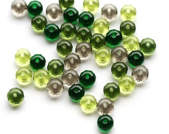 Czech glass beads mix in green colors - spacers, rondelles - 4x7mm - 25Pc - 0290