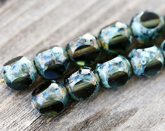 Czech picasso beads Dark olive green Glass beads - round cut - 8mm - 12Pc - 0257