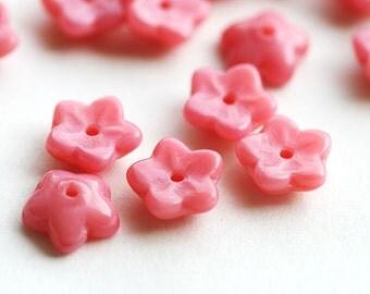 Coral pink flower, Czech glass beads, small bells, pink beads, brad cap - 7mm - 30Pc - 1506