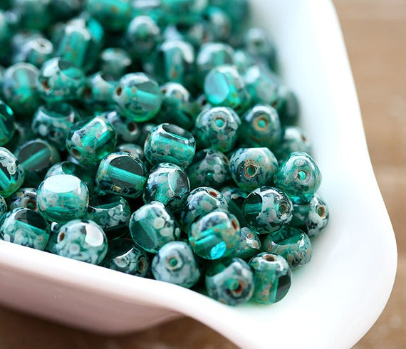 6mm Round Cut Teal Green Czech Glass beads, Picasso beads, fire polished - 30Pc - 0625