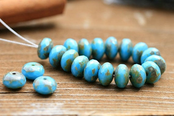 Picasso czech beads, Turquoise Blue glass beads - spacers, donut, gemstone cut - 4x7mm - 25pc - 1167