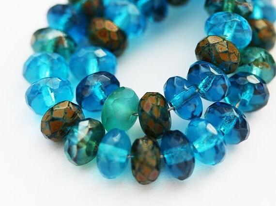 Capri Blue Picasso beads mix, Czech glass gemstone cut spacers 4x7mm - 25pc - 0120
