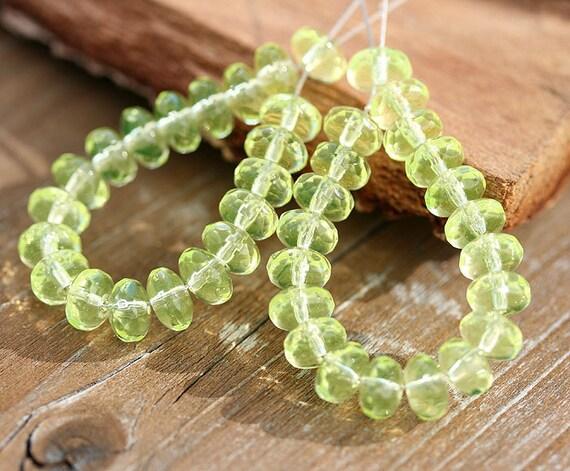 Lemon yellow czech glass beads spacers - gemstone cut, donut beads - 4x7mm - 25 Pc