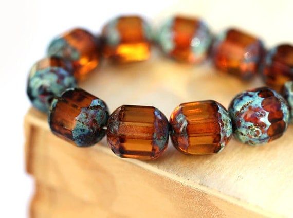 Brown topaz beads, Picasso beads, czech glass  - round cut, fire polished - 8mm - 15Pc - 2108