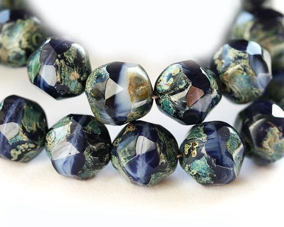 Blue czech beads, Picasso beads, czech glass beads - black deep blue rustic - round cut baroque balls - 8mm - 20PC - 051