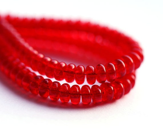 Red czech glass beads - tiny rondelle, spacers, donuts, 4mm - 50pc - 0203