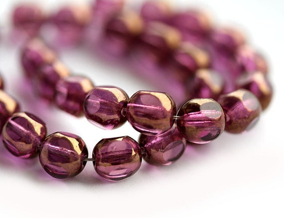30pc Purple czech glass beads, Dark Amethyst with luster, round cut spacers - 6mm - 0112