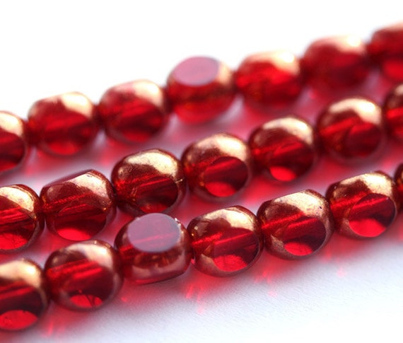 Red czech glass beads - dark red with luster - round cut spacers - 6mm - 30pc