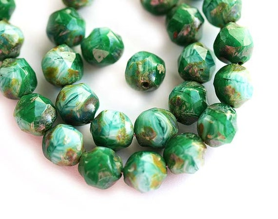 Czech beads, picasso Blue Green glass beads - round cut baroque - 8mm - 20PC - 081S