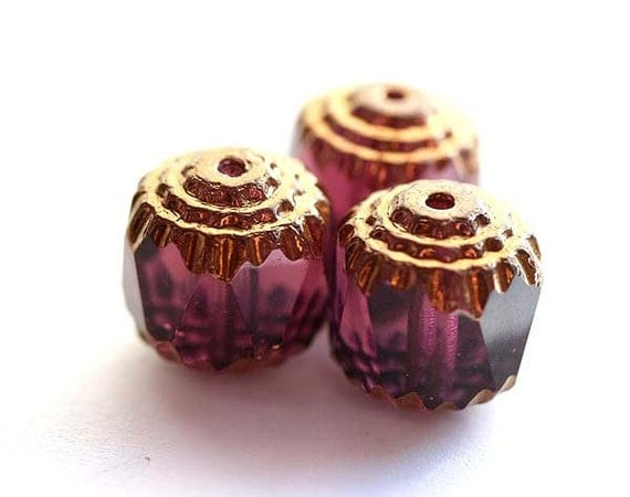 Purple cathedral czech glass beads with golden ends - large, amethyst, violet - 10mm - 10Pc - 0996